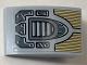Part No: 24309pb010  Name: Slope, Curved 3 x 2 No Studs with Dark Bluish Gray Vent Grille, Gold Decoration and Dark Bluish Gray Panels Pattern (Sticker) - Set 76099