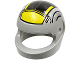 Part No: 2446pb22b  Name: Minifigure, Headgear Helmet Standard with SW Black and Yellow Pattern Small (B-wing)