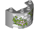 Part No: 24593pb03  Name: Cylinder Half 2 x 4 x 2 with 1 x 2 Cutout with White Stones and Lime Green Leaves with Bright Pink Flowers Pattern