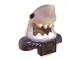 Part No: 25113pb02  Name: Minifig, Headgear Mask Shark Head with Wide Open Mouth with White Teeth, Black Eyes, Pearl Dark Gray Shoulder Pads and Front Panel and Battery Pattern