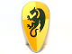 Part No: 2586p4k  Name: Minifig, Shield Ovoid with Dragon Dark Green on Light Yellow and Ochre Quarters Background Pattern