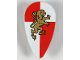 Part No: 2586px19  Name: Minifig, Shield Ovoid with Gold Lion on Red and White Quarters Background Pattern