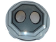 Part No: 2654pb006  Name: Plate, Round 2 x 2 with Rounded Bottom and 2 Silver Ovals in Dark Bluish Gray Octagon Pattern