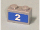 Part No: 3004pb079  Name: Brick 1 x 2 with White '2' on Blue Background Pattern (Sticker) - Set 7641