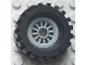 Part No: 30155c02  Name: Wheel Spoked 2 x 2 with Pin Hole, with Black Tire 30 x 10.5 Offset Tread (30155 / 2346)