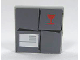 Part No: 3068bpb0158  Name: Tile 2 x 2 with Groove with Parcel Dark Bluish Gray with Red Fragile Goblet Pattern (Sticker) - Set 7732