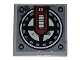 Part No: 3068bpb1201  Name: Tile 2 x 2 with Dark Red Arm and Black Fan Pattern (Sticker) - Set 70009