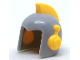 Part No: 31893pb01  Name: Minifigure, Headgear Helmet Space Retro with Open Front and Bright Light Orange Earpieces and Crest Pattern