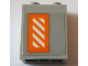 Part No: 3245cpb078R  Name: Brick 1 x 2 x 2 with Inside Stud Holder with Worn Orange and White Danger Stripes Pattern Right Wing Right Side (Sticker) - Set 75144