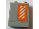 Part No: 3245cpb079L  Name: Brick 1 x 2 x 2 with Inside Stud Holder with Worn Orange and White Danger Stripes Pattern Left Wing Left Side (Sticker) - Set 75144