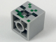 Part No: 35530pb02  Name: Minifigure, Head Modified Small Cube with Black, Dark Bluish Gray and Green Pixelated Pattern (Minecraft Baby Zombie Pigman Head)
