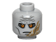 Part No: 3626bpb0747  Name: Minifig, Head Alien with Yellow Eyes, Wrinkled Brow, Scar Pattern (SW Darth Malgus) - Blocked Open Stud