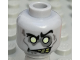 Part No: 3626bpb0766  Name: Minifig, Head Alien with White Eyes and Yellowed Teeth, Angry Pattern (Zombie Groom) - Blocked Open Stud