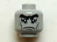 Part No: 3626cpb0779  Name: Minifig, Head Male Black Bushy Eyebrows, Sad Eyes with White Pupils, Cheek Lines Pattern - Stud Recessed