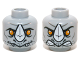 Part No: 3626cpb1086  Name: Minifig, Head Dual Sided Alien Chima Rhinoceros with Orange Eyes and White Horn, Neutral / Angry Pattern (Rogon) - Stud Recessed