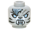 Part No: 3626cpb1301  Name: Minifig, Head Alien Chima Tiger Female with Fangs, Stripes, Sand Blue Fur and Light Blue Eyes Pattern (Sibress) - Hollow Stud