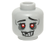 Part No: 3626cpb1409  Name: Minifig, Head Alien Zombie Female with Red Eyes and Open Smile with Missing Tooth Pattern - Stud Recessed