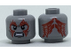 Part No: 3626cpb1826  Name: Minifig, Head Dual Sided Alien with Dark Bluish Gray Cheek Lines, Fierce Expression, Red Tattoos on Front and Back Pattern - Hollow Stud