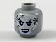 Part No: 3626cpb2115  Name: Minifig, Head Female White Face with Dark Bluish Gray Tattoos, Dark Purple Eye Shadow and Lips Pattern - Hollow Stud