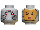 Part No: 3626cpb2181  Name: Minifig, Head Dual Sided Female Balaclava with Yellow Face / Red Eyes, Silver Plates Pattern - Hollow Stud