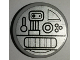 Part No: 4150pb187  Name: Tile, Round 2 x 2 with Mechanical Parts on Silver Background Pattern (Sticker) - Set 7879