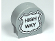 Part No: 41970pb08  Name: Duplo, Brick 1 x 3 x 2 Round Top Road Sign with 'HIGH WAY' Pattern