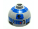 Part No: 553pb004  Name: Brick, Round 2 x 2 Dome Top with Blue Pattern (R2-D2)