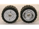 Part No: 55981c01  Name: Wheel 18mm D. x 14mm with Pin Hole, Fake Bolts and Shallow Spokes with Black Tire 24 x 14 Shallow Tread (55981 / 30648)