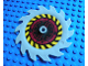 Part No: 61403pb01  Name: Technic Circular Saw Blade 9 x 9 with Pin Hole and Blades in Same Direction with Black and Yellow Stripes and Dark Red Pattern (Sticker) - Set 8113
