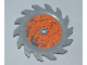 Part No: 61403pb02L  Name: Technic Circular Saw Blade 9 x 9 with Pin Hole and Splatters and Scratches on Orange Background Outside Pattern (Sticker) Power Miners