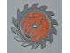 Part No: 61403pb02R  Name: Technic Circular Saw Blade 9 x 9 with Pin Hole and Splatters and Scratches on Orange Background Inside Pattern (Sticker) Power Miners