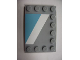 Part No: 6180pb040L  Name: Tile, Modified 4 x 6 with Studs on Edges with White Diagonal Stripe Left and Maersk Blue Pattern (Sticker) - Set 10219