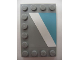 Part No: 6180pb040R  Name: Tile, Modified 4 x 6 with Studs on Edges with White Diagonal Stripe Right and Maersk Blue Pattern (Sticker) - Set 10219