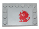 Part No: 6180pb080L  Name: Tile, Modified 4 x 6 with Studs on Edges with Red Gryphon Pattern Model Left Side (Sticker) - Set 75081