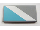 Part No: 87079pb028L  Name: Tile 2 x 4 with White Diagonal Stripe Left and Maersk Blue Pattern (Sticker) - Set 10219