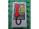 Part No: 87544pb003  Name: Panel 1 x 2 x 3 with Side Supports - Hollow Studs with Telephone with Red Handset Pattern (Sticker) - Set 7596