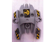 Part No: 87820pb04  Name: Hero Factory Shield Type 1 with Fist Facing Right and Black and Yellow Danger Stripes Pattern (Stickers) - Set 7157