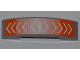 Part No: 93273pb009  Name: Slope, Curved 4 x 1 Double No Studs with White Arrows on Orange Background Pattern (Sticker) - Set 6868