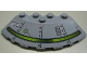 Part No: 95188pb05L  Name: Brick, Round Corner 6 x 6 with Slope 33 Edge, Facet Cutout with Alien Ship and 'We've Been to Earth' Pattern Model Left (Sticker) - Set 7051