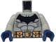 Part No: 973pb0417c01  Name: Torso Batman Logo with Muscles and Yellow Belt with Snaps Pattern / Light Bluish Gray Arms / Dark Blue Hands