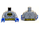 Part No: 973pb1002c02  Name: Torso Batman Logo in Yellow Oval with Muscles and Yellow Belt Front and Back Pattern / Light Bluish Gray Arms / Blue Hands