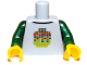 Part No: 973pb1218c01  Name: Torso Stylized Digital Minifigure Head Pattern / Dark Green Arms / Yellow Hands