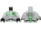 Part No: 973pb1264c01  Name: Torso Galaxy Squad Robot with Wide Black Belt and Bright Green Plates Pattern / Light Bluish Gray Arms / Black Hands