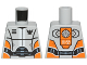 Part No: 973pb1267  Name: Torso Galaxy Squad Robot with Wide Black Belt and Orange Plates on Sides Pattern