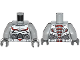 Part No: 973pb1725c01  Name: Torso Armor with Black and Red Lines on Chest and Silver Belt with Red Buckle Pattern / Light Bluish Gray Arms / Dark Bluish Gray Hands