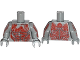 Part No: 973pb1744c01  Name: Torso Bare Chest with Muscles and Red Tattoo with Minifigure Heads Pattern / Light Bluish Gray Arms with Red Tattoo Pattern / Light Bluish Gray Hands
