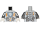 Part No: 973pb2237c01  Name: Torso Nexo Knights Armor with Orange and Gold Circuitry and White Horse Head on Sand Blue Pentagonal Shield Pattern / Flat Silver Arms / White Hands