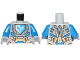 Part No: 973pb2596c01  Name: Torso Nexo Knights Armor with Orange and Gold Circuitry and Emblem with Blue Falcon Pattern / Blue Arms / Light Bluish Gray Hands
