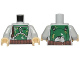 Part No: 973pb2687c01  Name: Torso SW Armor Plates Dark Green Pattern Dual Sided, Gray and Olive Green Patches (Boba Fett) / Light Bluish Gray Arms / Tan Hands