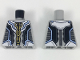 Part No: 973pb3043  Name: Torso Armor with Gold and Bright Light Blue Trim, Black and Dark Bluish Gray Panels Pattern